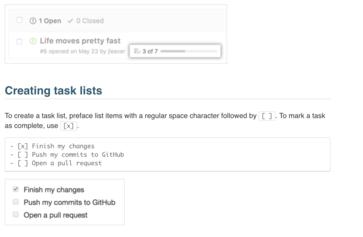 Github Task lists