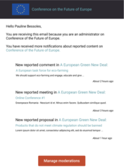 Moderation email digest