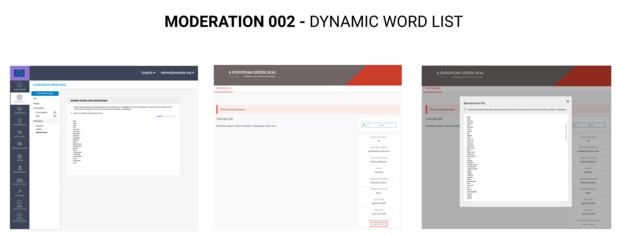 Dynamic moderation - word list
